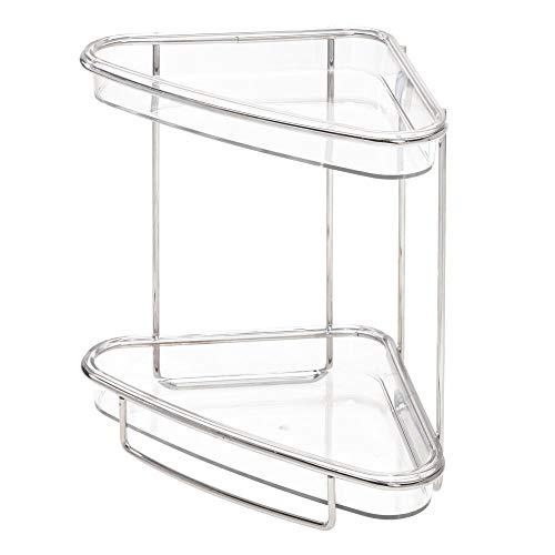 "iDesign Clarity Plastic Free-Standing 2-Tier Vanity Shelves, Storage for Countertops, Desks, Dressers, Bathroom, 9.68"" x 6.43"" x 9.05"", Brushed"