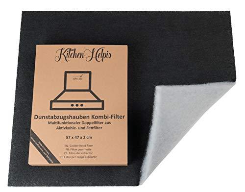 Kitchen Helpis® Dunstabzugshauben Kombifilter – Aktivkohle UND Fettfilter in einem, Doppelfilter 57x47 cm, Dunstabzugshauben-Filter, Aktivkohlefilter Dunstabzugshaube, Fettfilter Dunstabzugshaube