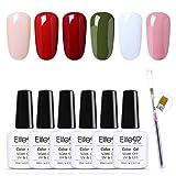 Elite99 Esmaltes Semipermanentes de Uñas en Gel UV LED, 6 Colores Florales Kit de Esmaltes de Uñas, Esmaltes en Gel Soak Off 10ml 001