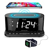 iLuv Morning Call 5 Qi-Certified Wireless Charging Bedside Digital Alarm Clock, 1.2' Jumbo LED Dual Alarm, FM Radio with 10 Presets, USB Charging Port, Sleep Timer, 3-Level Dimmer, Battery Backup