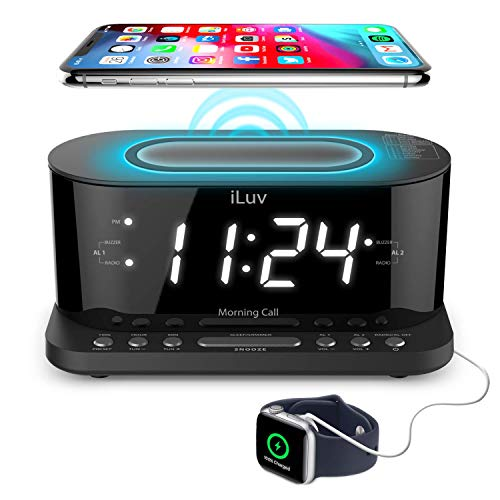 "iLuv Morning Call 5 Qi-Certified Wireless Charging Bedside Digital Alarm Clock, 1.2"" Jumbo LED Dual Alarm, FM Radio with 10 Presets, USB Charging Port, Sleep Timer, 3-Level Dimmer, Battery Backup"