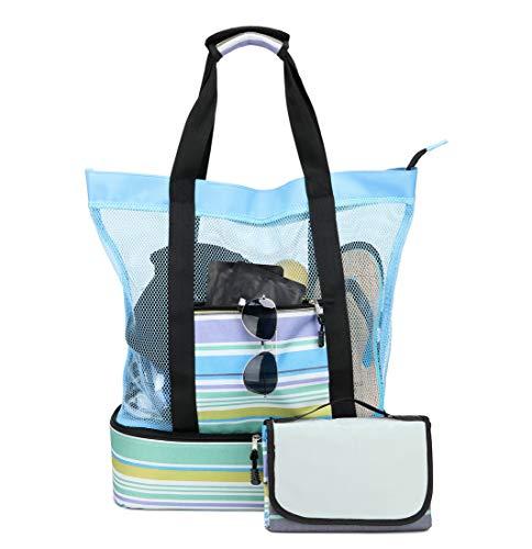 Acmebon Bolsa Tote Grande de Malla para Playa con Manta de Picnic y Nevera térmica incorporada Azul