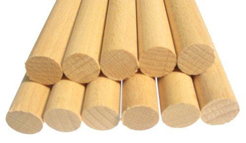 Hagspiel Rundstäbe, 10 Stk. Rundstäbe Holz Buche 16 mm 100 cm lang, glatt