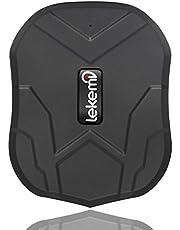 lekemi GPS Tracker Localizador para coche vehículo con libre funda para aplicaciones, fuerte imán y 5000mAh recargable