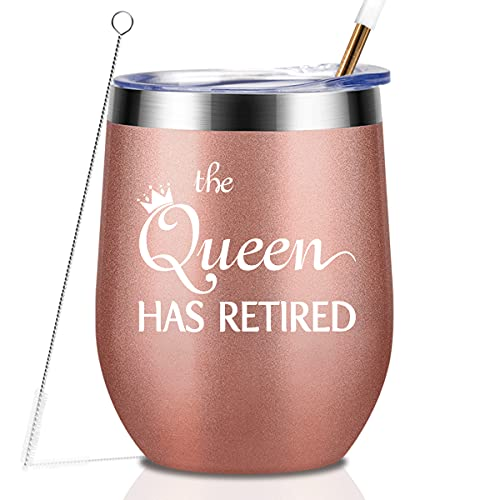 Retirement Gifts For Women The Queen Has Retired 12 oz Stainless Steel Wine Tumbler with Lid and Straw Funny Retirement Gift for Her
