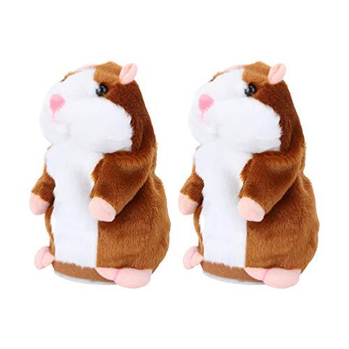 Tomaibaby 2 figuras de hámster parlante de 16 cm, ratón de peluche, juguete electrónico, juguete de peluche para niños, regalo de cumpleaños, mascotas, juguete interactivo (sin batería)