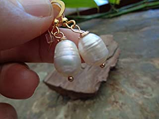 ᵒᴼᵒₒₒᵒᴼᵒ PERLA BARROCA EN ORO ᵒᴼᵒₒₒᵒᴼᵒ aretes únicos con perlas de agua dulce, oro de crecimiento visible,