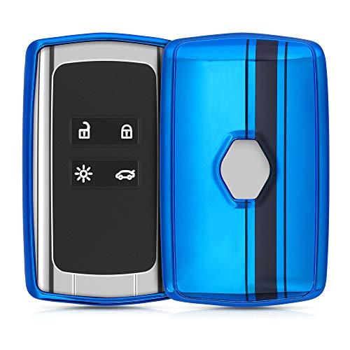 kwmobile Funda Compatible con Renault - Carcasa para Llave del Coche Renault Llave de Coche Smart Key de 4 Botones (Solo Keyless Go) - diseño Rally