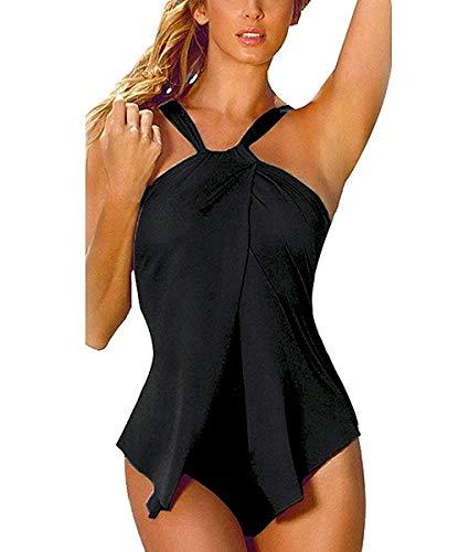 Minetom Damen Sommer Sexy Einfarbig Neckholder Tankini Badeanzug Rückenfrei Monokini Bademode Einteiliger Swimsuit Schwarz DE 48