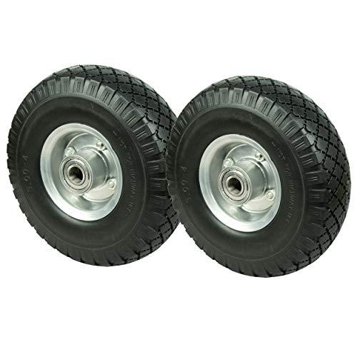 HRB PU Rad 260 mm - Pannensicher je 130 kg Traglast, Metallfelge (Schwarz, 2 Stück)