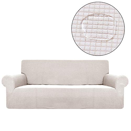 Jessi ca Elastischer Sofabezug Jacquard Sofa Cover Anti-Slip Polyester Spandex Stoff Sofa Protector Sofa Cover Für Moving House,Beige,4Seater