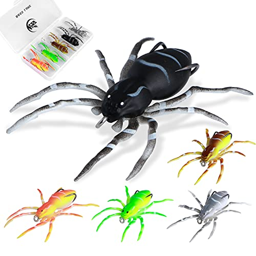Floating Soft Spider Fishing Lure Set, KSBASSLURE 5PCS Topwater 2.9inch, 1/4oz Bass Fishing Lures Lifelike Bass Lures Saltwater Freshwater Fishing Bait for Trout Lures, Fishing Gifts for Men