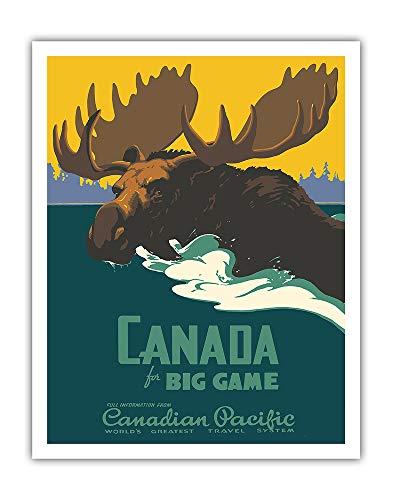 Chasse au gros gibier Canada - Chemin de fer Canadien Pacifique - Affiche ferroviaire de Thomas (Tom) Hall c.1939 - Impression d'Art 28 x 36 cm