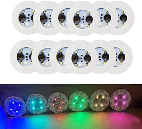 LED Coaster,12 Pack Light Up Coasters,LED Bottle Lights,Bottle Glorifier,LED Sticker Coaster Discs Light Up for Drinks,Flash Light Up Cup Coaster Flashing Shots Light (Multicolor)