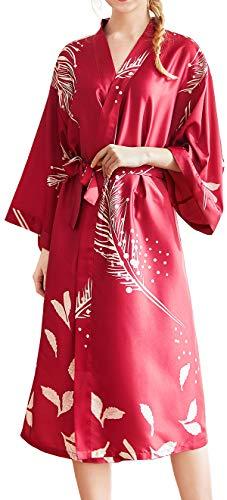 Chaos World Damen Morgenmantel Seide Satin Kimono Lange Robe Bademantel mit Federn und Blätter(Wein,XX-Large)