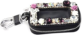Bestbling Car Key Holder Flower 3D Handmade Leather Auto Key Case Car Key Gourd Leather Holder Cover Case with Luxury Bling Crystal Diamond Rhinestones (Purple)