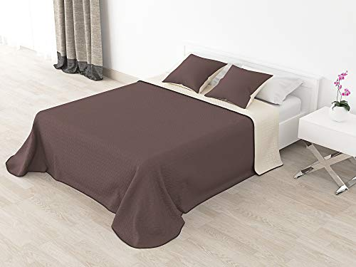 Cabetex Home - Colcha Bouti Reversible Bi-Color de Microfibra Transpirable con Cojines Mod. Colors (Marrón/Crema, Cama de 90 cm (180x255 cm))