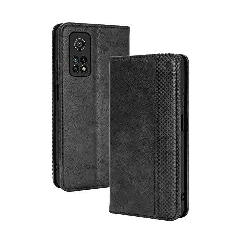 Dedux Portafoglio Custodia Cover Compatibile con Xiaomi Mi 10T(10T PRO) 5G, Cover per Biglietti da Visita in Pelle Retro con Chiusura Magnetica Premium Pu Flip, Nero