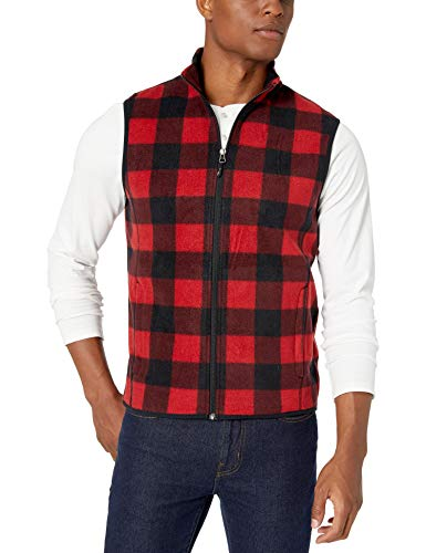 Amazon Essentials Men's Full-Zip Polar Fleece Vest, Red Buffalo, Large