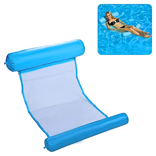 Decdeal Floating Water Hammock Multi-Purpose Pool Lounger Inflatable Rafts Swimming Pool Air Lightweight Chair Compact Float Hammock And Portable Mat For Adults And Kids