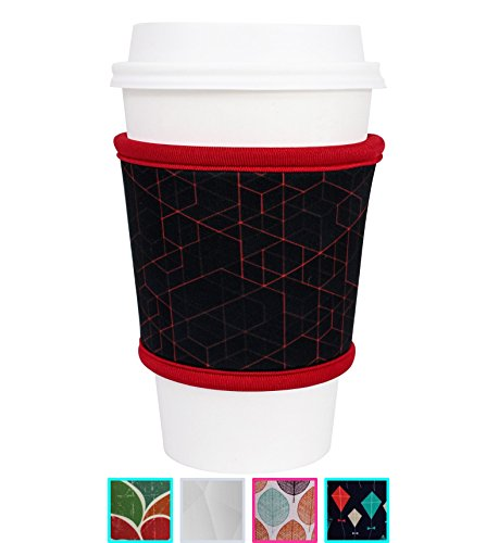 MOXIE Coffee Cup Sleeves – Premium Neoprene Insulated Reusable Coffee & Tea Cup Sleeves – Best for 12oz-24oz Cups at Starbucks, McDonalds, Peets, Caribou Coffee (1 Pack - Redline)
