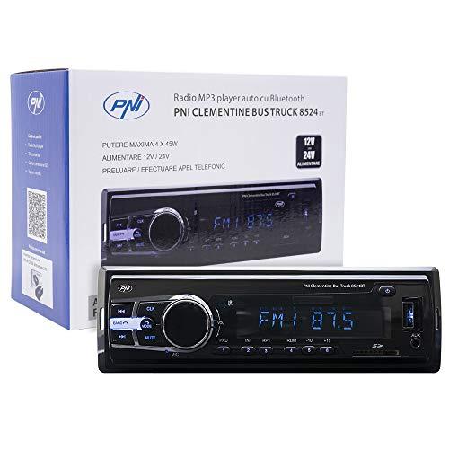 Oferta de Radio Reproductor de MP3 Auto PNI Clementine Bus Camión 8524BT 4x45w 12V / 24V 1 DIN CU SD, USB, AUX, RCA si Bluetooth 24 voltios