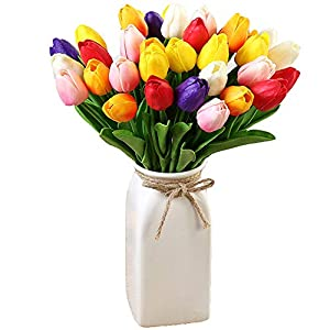 30Pcs Multicolor Tulips Artificial Flowers Faux Tulip Stems Real Touch Feel PU Tulips for Easter Spring Wreath Wedding Bouquet Arrangement Cemetery Table Decor Tall 14inch