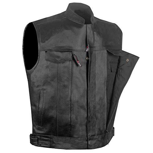 Men's Armor SOA Magum Motorcycle Concealed Pockets Biker Club Leather Vest L