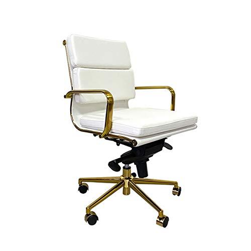 DJDLLZY Sillas de oficina, sillas de jefe, sillas de dirección, sillas ejecutivas, sillas de escritorio, sillas de oficina y respaldo medio, silla de conferencia, en color blanco