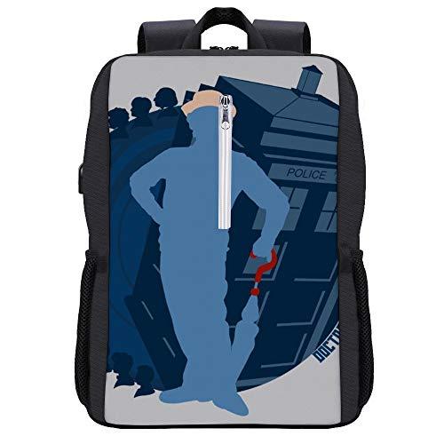 7th Doctor Who Silhouette Sylvester McCoy Tardis Rucksack Daypack Bookbag Laptop Schultasche mit USB-Ladeanschluss