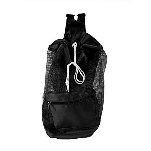 Rucksack Faltbar Tasche Kindermaschen Strandspielzeug Tasche Strandtasche Kordelzug tragbare große Tasche für Sandspielzeug Wasserspielzeug Rücksack Beutel für Kinder (Schwarz)