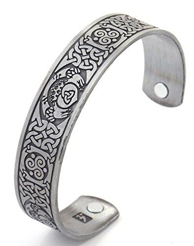 Fishhook Vintage Health Care Magnet Claddagh Spirale Triskele Irischer Knoten Armreif Manschette Armband (Antik Silber)