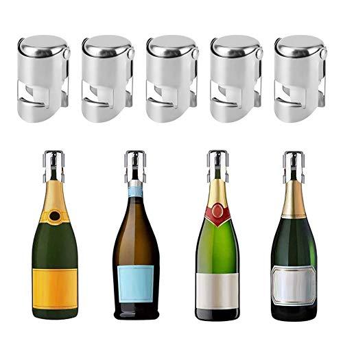 5PCS Champagnerverschluss, Weinstopfen Flaschenverschluss Edelstahl Champagnerverschluss Weingetränke Flaschenverschluss Versiegelung für Hausbars Verwendung