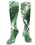 zhouyongz Calcetines de compresión con estampado realista de hojas de palmera para hombre y mujer, con diseño de botánica exuberante y atlético graduado para hombres y mujeres, correr, vuelo, viajes