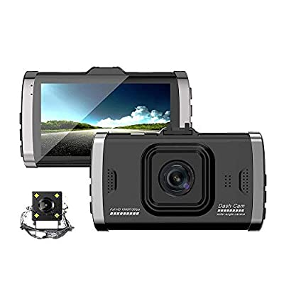 CHEZAI Car Camera Dashcam 1080P Dash Camera, 170°Concealed Dual Lens DVR Car USB Monitor HD Reversing Image, Super Night Vision, Wide Angle Lens, Loop Recording, Parking Monitoring, Motion Detection by SPRIS