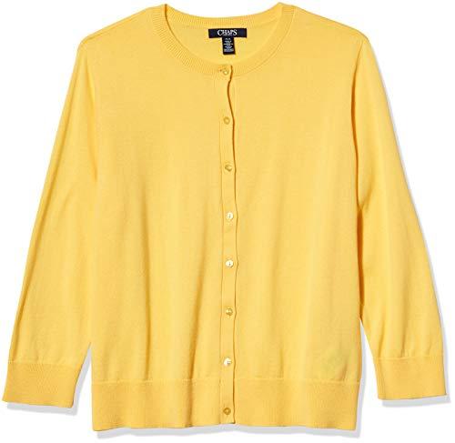 Chaps Women's Petite 3/4 Sleeve Cotton Crewneck Cardigan, April Yellow, PM