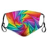 Cubierta facial cómoda a prueba de viento, diseño abstracto psicodélico en colores vivos arco iris fractales triangulares primer plano, decoración facial impresa para adultos