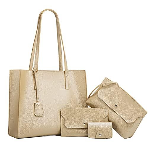Chikencall Borsa e borsette da donna Set di borse a tracolla in pelle PU da 4 pezzi Borsa tote borse Borsa Work Shopper con manico superiore Cartelle da viaggio Frizione