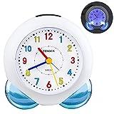 Reloj Despertador Analógico para Niños,Silencioso con Luz no Hace Tictac con Función de Repetición Reloj Despertador Portátil para el Dormitorio de los Niños Mesita de Noche Escritorio (Azul)