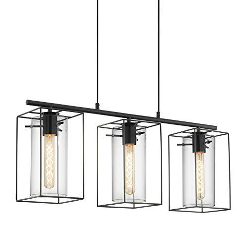 EGLO Lustre LONCINO, suspension à 3 flammes vintage, lampe suspendue rétro en acier, couleur : noir, verre : verre fumé, douille : E27, Ø : 38 cm