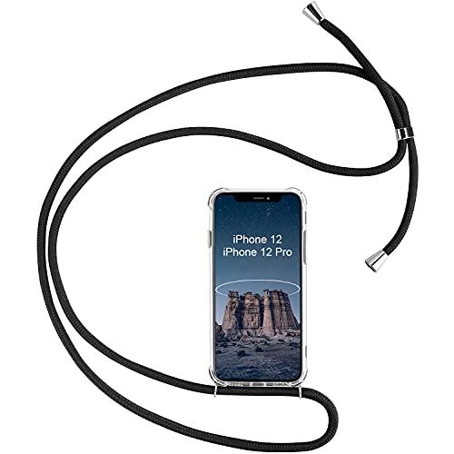 Mosoris Funda con Cuerda para iPhone 12/iPhone 12 Pro, Transparente Carcasa Suave Silicona TPU Gel Case con Correa Colgante Ajustable Funda para iPhone 12 Pro [Anti-rasguños Anti-Choque], Negro