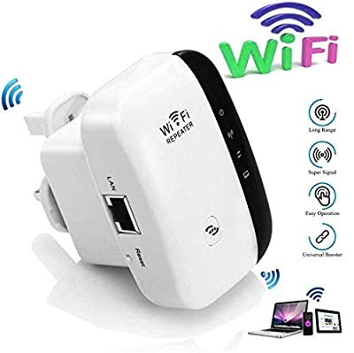 WiFi Repeater, WiFi Range Extender, 2.4G Network with Integrated Antennas LAN Port, 300Mbps Wireless Router Signal Booster Amplifier Supports Repeater/Access Point/Easy Set-Up