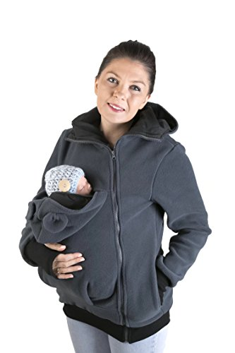 Maternity Polar Warm Fleece Hoodie/Pullover for Two/for Baby Carriers/Baby Carrying Wearing Graphite (XXL - US14)