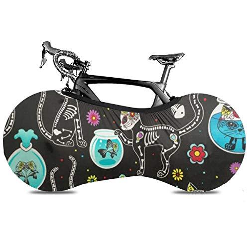 Funda para bicicleta con diseño de gato de Sushi japonés, portátil, antipolvo, alta elasticidad, para bicicleta, protección contra desgarros y neumáticos de carretera MTB, Cráneos de azúcar Gatos, talla única