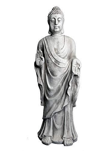 gartendekoparadies.de Wunderschöne, riesige Statue Buddha Mönch Tempelwächter aus Steinguss, frostfest