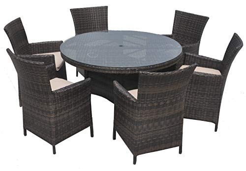 Chusstang Rattan Furniture Set, Luxury Panio Garden Set Patio Conservatory Indoor Outdoor Dining Table and 6 Chair Outdoor Rattan Dining Set - Mix Brown 135cm Round Table with 6 Seater