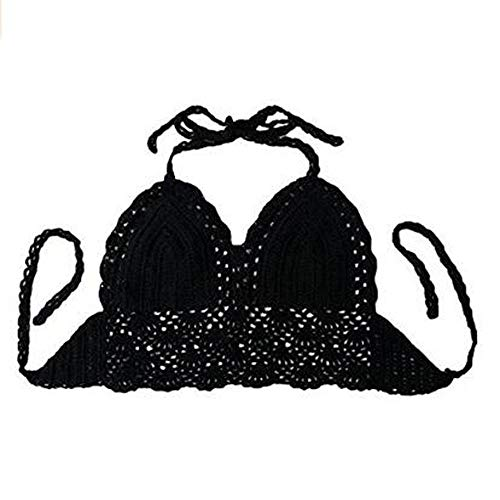 NY Women Bra Black Knitted Bikini Top Sleeveless Backless Belted Tank Tops Summer Beach Breast wrap Handmade Crochet Crop Halter Top