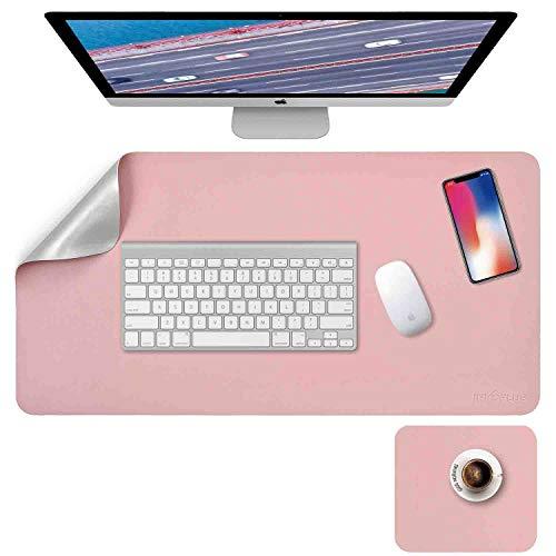 Schreibtischunterlage, Mousepad,Mauspad 2 Pack 80 x 40cm +20 x 28 cm, Schreibtischunterlage Leder, Bürotisch Unterlage, Laptop Unterlage Kinder, xxl Schreibtischunterlage Pink/Sliver PU, Office