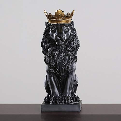 4 kreative Farben Krone goldene Löwe Statue Tierfigur Harz Moderne schwarz/weiß Dekoration Skulptur Handwerk Schreibtisch nach Hause, schwarz