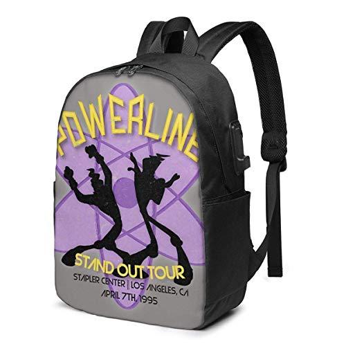 Hdadwy Vintage Powerline Concert Logo Trendy Travel USB Backpack,17 Inch Computer Business Backpacks Student Backpack Casual Hiking Daypack